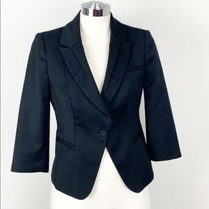 WHBM Black Cropped Tuxedo Jacket Blazer Size 2